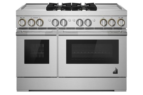 """Large image of JennAir RISE 48"""" Stainless Steel Professional Style With Chrome-Infused Griddle Dual-Fuel Range - JDRP848HL"""