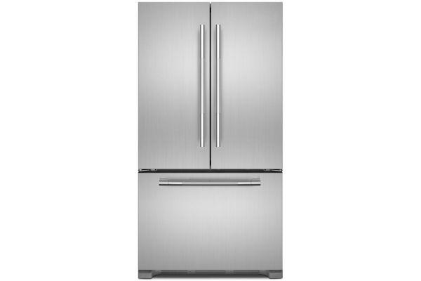 "Large image of JennAir RISE 36"" Stainless Steel French Door Freestanding Refrigerator - JFFCF72DKL"