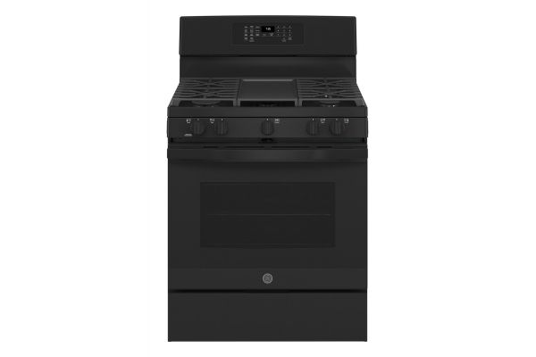 """Large image of GE 30"""" Black Freestanding Gas Convection Range With No Preheat Air Fry - JGB735DPBB"""