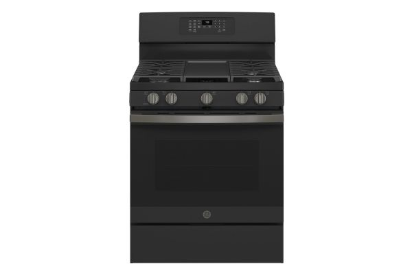 "Large image of GE 30"" Fingerprint Resistant Black Slate Freestanding Gas Convection Range With No Preheat Air Fry - JGB735FPDS"