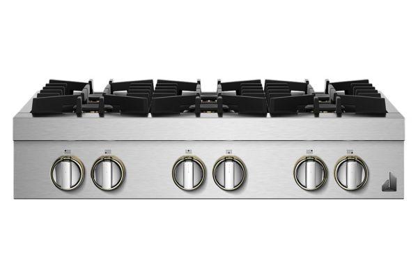 """Large image of JennAir RISE 36"""" Stainless Steel Gas Rangetop - JGCP436HL"""