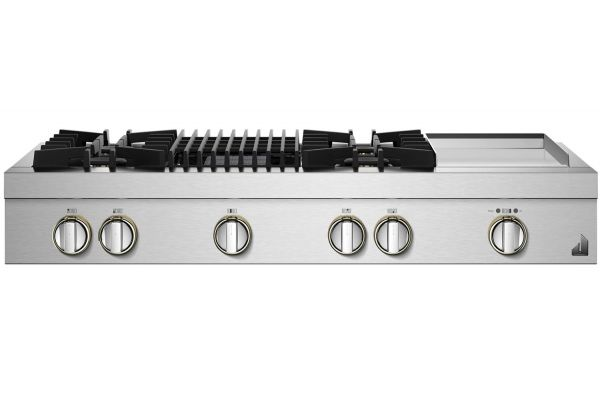 """Large image of JennAir RISE 48"""" Stainless Steel Gas Rangetop - JGCP748HL"""