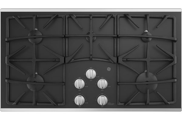 """Large image of GE 36"""" Stainless Steel Gas Cooktop - JGP5536SLSS"""