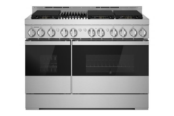 """Large image of JennAir NOIR 48"""" Floating Glass Black And Stainless Steel Gas Professional-Style Range With Grill - JGRP648HM"""