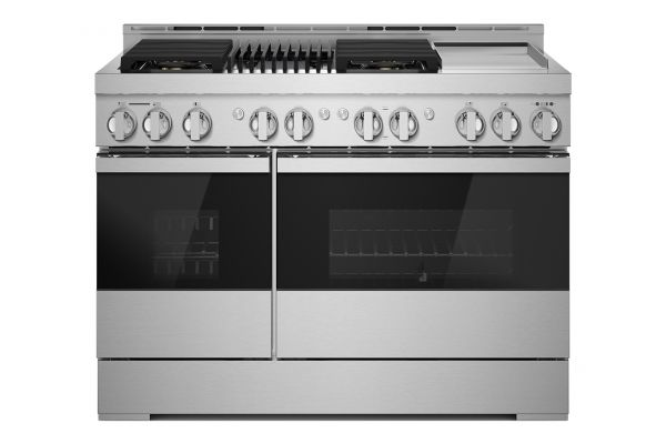 """Large image of JennAir NOIR 48"""" Floating Glass Black And Stainless Steel Gas Professional-Style Range With Chrome-Infused Griddle And Grill - JGRP748HM"""
