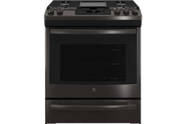 "Large image of GE 30"" Black Stainless Steel Slide-In Convection Oven Gas Range - JGS760BELTS"