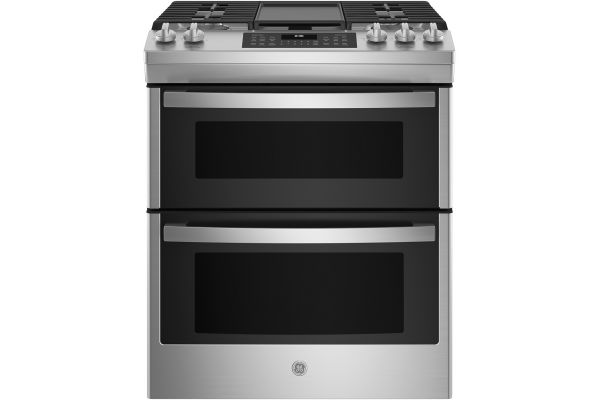 "Large image of GE 30"" Stainless Steel Slide-In Double Oven Convection Gas Range - JGSS86SPSS"