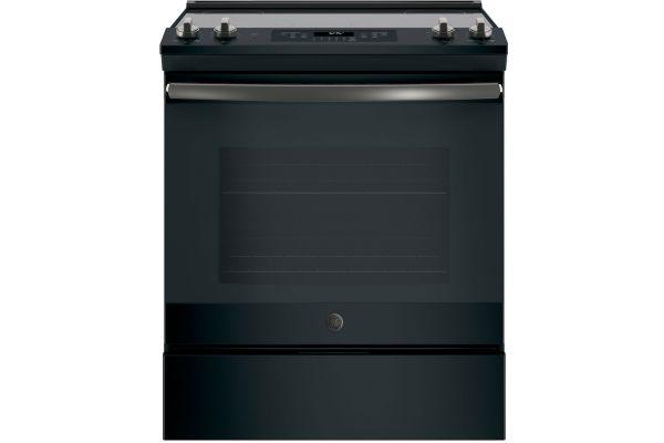 """Large image of GE 30"""" Black Slate Slide-In Electric Range - JS645FLDS"""