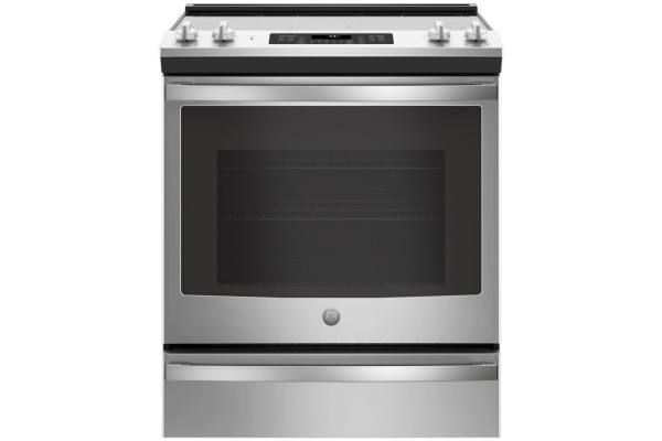 """Large image of GE 30"""" Stainless Steel Slide-In Electric Convection Range - JS760SLSS"""