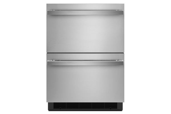 """Large image of JennAir NOIR 24"""" Stainless Steel Double-Refrigerator Drawers - JUDFP242HM"""