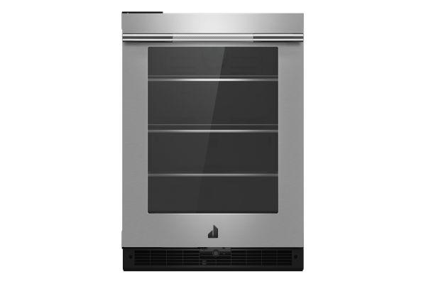 "Large image of JennAir RISE 24"" Stainless Glass Door Left-Hinge Undercounter Refrigerator - JUGFL242HL"