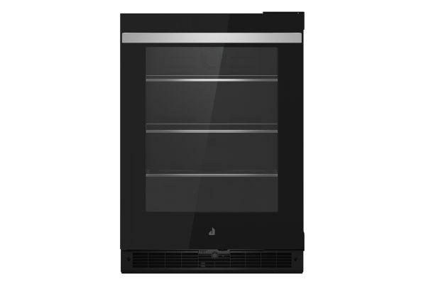 "Large image of JennAir NOIR 24"" Black Glass Door Right-Hinge Undercounter Refrigerator - JUGFR242HM"