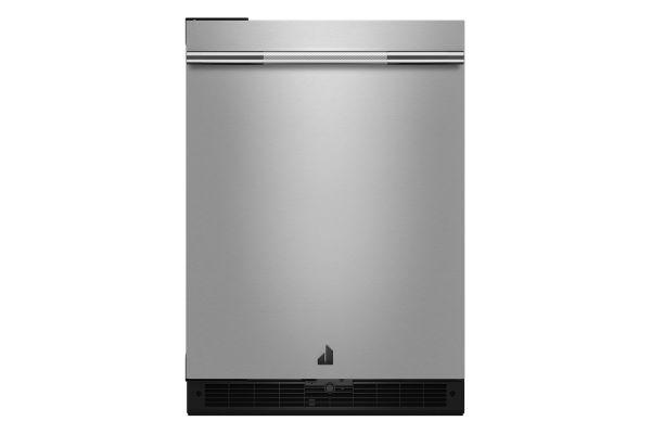 "Large image of JennAir 24"" RISE Stainless Steel Solid Door Left-Hinge Undercounter Refrigerator - JURFL242HL"