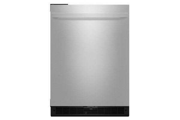"Large image of JennAir 24"" NOIR Stainless Steel Solid Door Left-Hinge Undercounter Refrigerator - JURFL242HM"