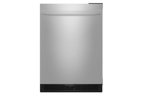 "Large image of JennAir NOIR 24"" Stainless Steel Solid Door Right-Hinge Undercounter Refrigerator - JURFR242HM"