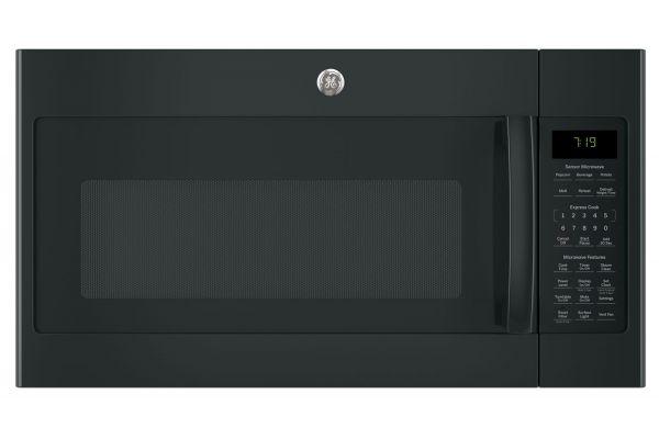 Large image of GE Black Over-The-Range Sensor Microwave Oven - JVM7195DKBB