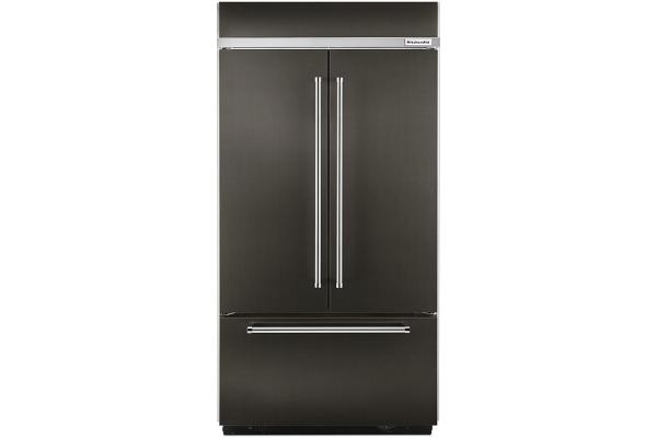 Large image of KitchenAid 20.8 Cu. Ft. Black Stainless Steel Built-In French Door Refrigerator - KBFN506EBS