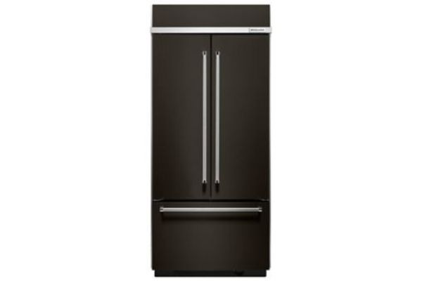 KitchenAid 20.8 Cu. Ft. Black Stainless Steel Built-In French Door Refrigerator - KBFN506EBS