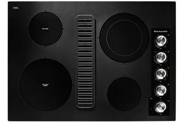 "Large image of KitchenAid 30"" Black Electric Downdraft Cooktop - KCED600GBL"