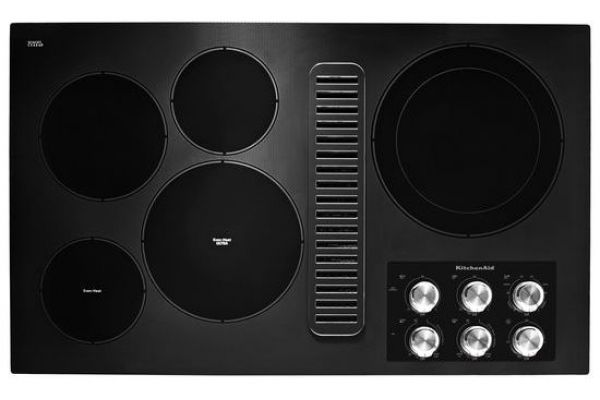 "Large image of KitchenAid 36"" Black Electric Downdraft Cooktop - KCED606GBL"