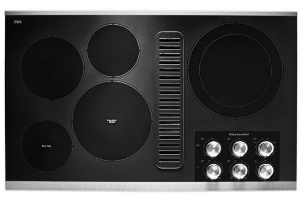 "Large image of KitchenAid 36"" Stainless Steel Electric Downdraft Cooktop - KCED606GSS"