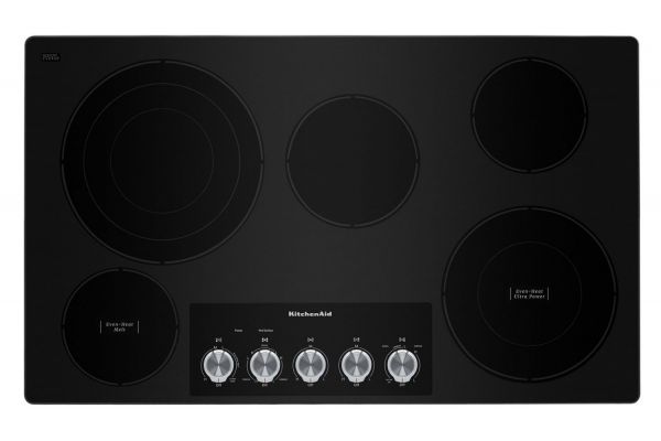 "Large image of KitchenAid 36"" Black 5-Element Electric Cooktop - KCES556HBL"