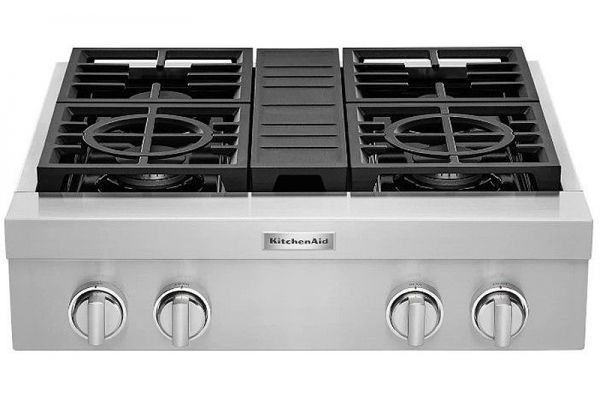 """Large image of KitchenAid 30"""" Stainless Steel Commercial-Style Gas Rangetop - KCGC500JSS"""