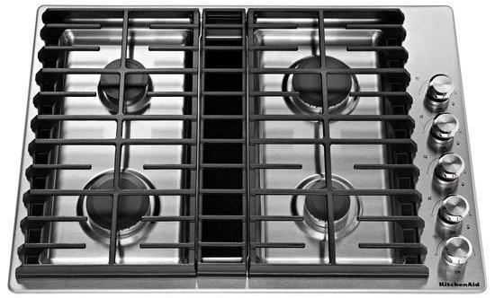 "KitchenAid 30"" 4-Burner Gas Downdraft Cooktop"