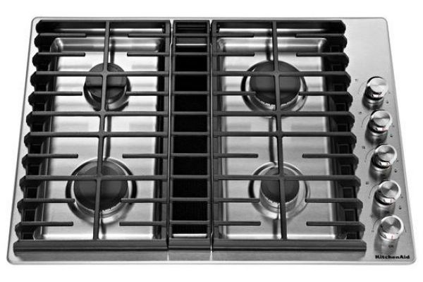 "KitchenAid 30"" Stainless Steel 4-Burner Gas Downdraft Cooktop - KCGD500GSS"
