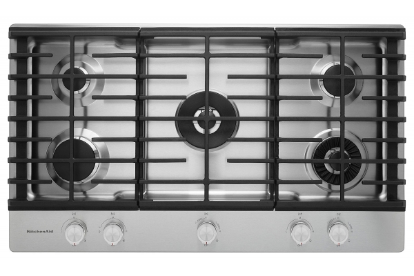 """Large image of KitchenAid 36"""" Stainless Steel 5-Burner Gas Cooktop - KCGS956ESS"""