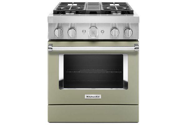 "Large image of KitchenAid 30"" Avocado Cream Smart Commercial-Style Dual Fuel Range With 4 Burners - KFDC500JAV"