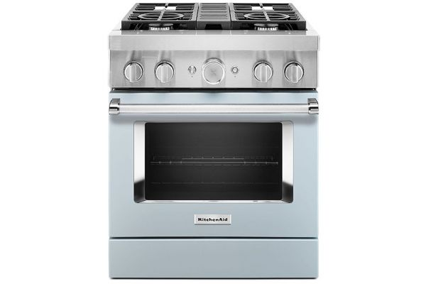 "Large image of KitchenAid 30"" Misty Blue Smart Commercial-Style Dual Fuel Range With 4 Burners - KFDC500JMB"