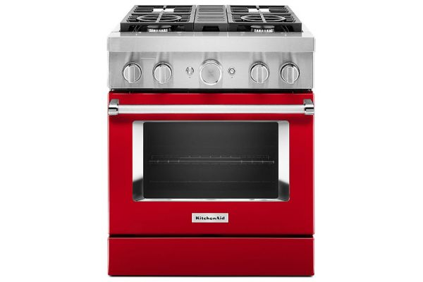 """Large image of KitchenAid 30"""" Passion Red Smart Commercial-Style Dual Fuel Range With 4 Burners - KFDC500JPA"""
