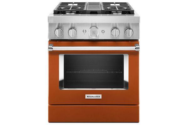 "Large image of KitchenAid 30"" Scorched Orange Smart Commercial-Style Dual Fuel Range With 4 Burners - KFDC500JSC"