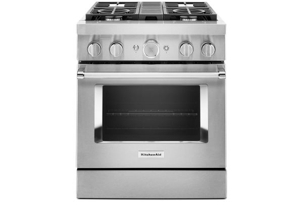 Large image of KitchenAid 30'' Stainless Steel Smart Commercial-Style Dual Fuel Range With 4 Burners - KFDC500JSS