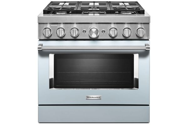 Large image of KitchenAid 36'' Misty Blue Smart Commercial-Style Dual Fuel Range With 6 Burners - KFDC506JMB
