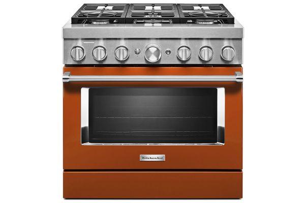 Large image of KitchenAid 36'' Scorched Orange Smart Commercial-Style Dual Fuel Range With 6 Burners - KFDC506JSC