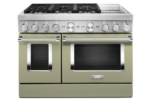 "Large image of KitchenAid 48"" Avocado Cream Smart Commercial-Style Dual Fuel Range With Griddle - KFDC558JAV"