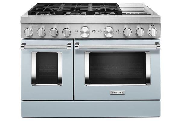 "Large image of KitchenAid 48"" Misty Blue Smart Commercial-Style Dual Fuel Range With Griddle - KFDC558JMB"