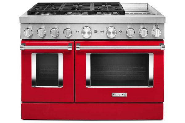 """Large image of KitchenAid 48"""" Passion Red Smart Commercial-Style Dual Fuel Range With Griddle - KFDC558JPA"""