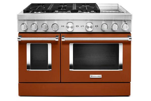 "Large image of KitchenAid 48"" Scorched Orange Smart Commercial-Style Dual Fuel Range With Griddle - KFDC558JSC"
