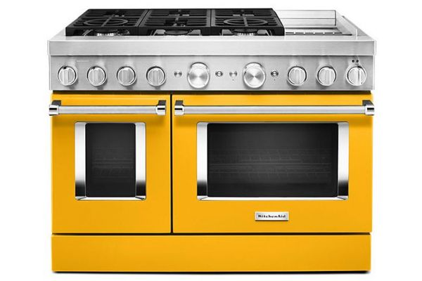 """Large image of KitchenAid 48"""" Yellow Pepper Smart Commercial-Style Dual Fuel Range With Griddle - KFDC558JYP"""