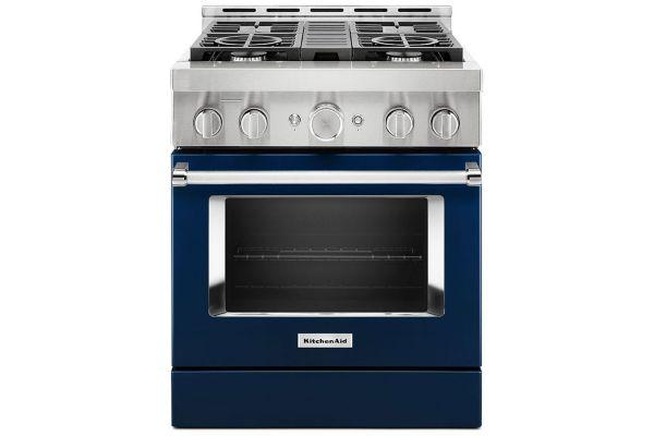 "Large image of KitchenAid 30"" Ink Blue Smart Commercial-Style Gas Range With 4 Burners - KFGC500JIB"