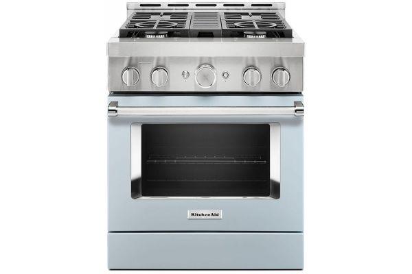 """Large image of KitchenAid 30"""" Misty Blue Smart Commercial-Style Gas Range With 4 Burners - KFGC500JMB"""