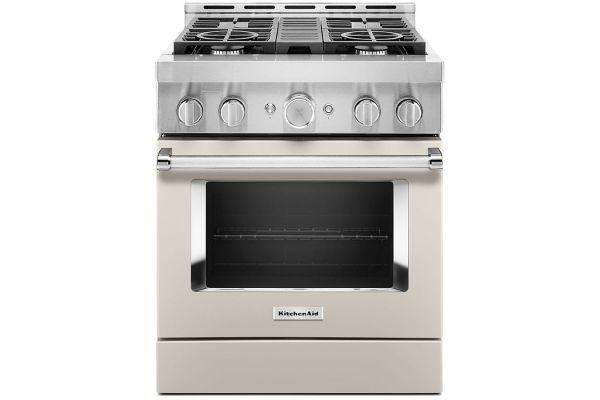 """Large image of KitchenAid 30"""" Milkshake Smart Commercial-Style Gas Range With 4 Burners - KFGC500JMH"""