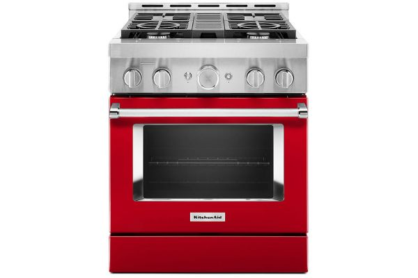 """Large image of KitchenAid 30"""" Passion Red Smart Commercial-Style Gas Range With 4 Burners - KFGC500JPA"""