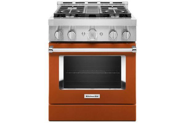 "Large image of KitchenAid 30"" Scorched Orange Smart Commercial-Style Gas Range With 4 Burners - KFGC500JSC"