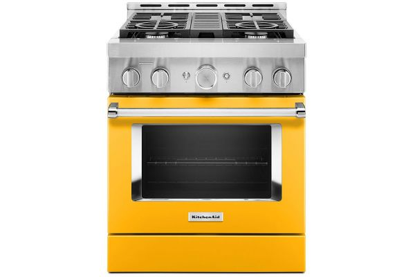 """Large image of KitchenAid 30"""" Yellow Pepper Smart Commercial-Style Gas Range With 4 Burners - KFGC500JYP"""