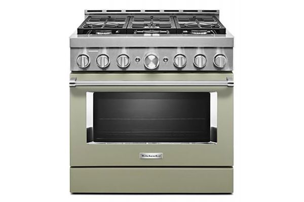 "Large image of KitchenAid 36"" Avocado Cream Smart-Commercial-Style Gas Range With 6 Burners - KFGC506JAV"