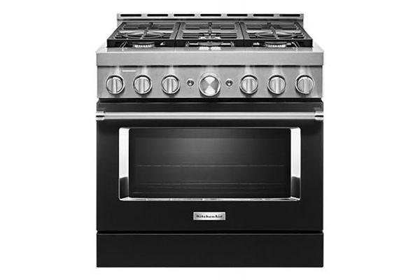 "Large image of KitchenAid 36"" Imperial Black Smart-Commercial-Style Gas Range With 6 Burners - KFGC506JBK"